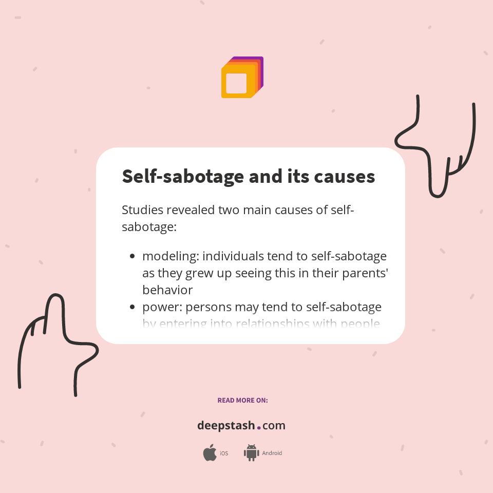 Sabotaging relationships self Self